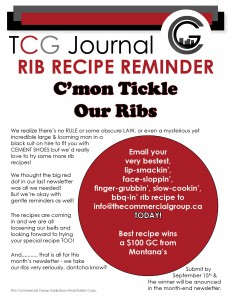 Rib Recipe Reminder - September 15th deadline